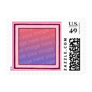 Pink and magenta frame, add photo postage stamps