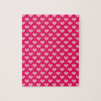 Pink and Magenta Heart Pattern Jigsaw Puzzle