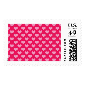 Pink and Magenta Heart Pattern Postage Stamp