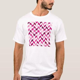 Pink and Magenta Herringbone Pattern T-Shirt