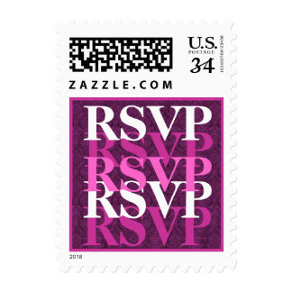 Pink and Magenta RSVP Modern Wedding S200 Postage