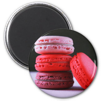 Pink and Magenta Stack of French Macaron Cookies 2 Inch Round Magnet