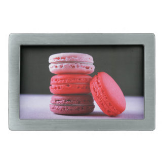 Pink and Magenta Stack of French Macaron Cookies Belt Buckle
