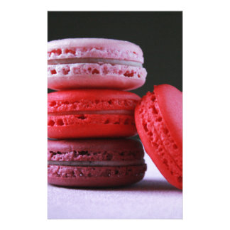 Pink and Magenta Stack of French Macaron Cookies Stationery