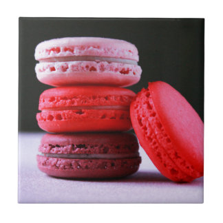Pink and Magenta Stack of French Macaron Cookies Tile