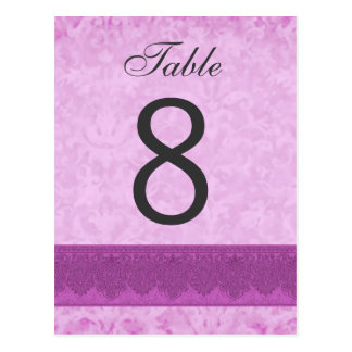 Pink and Magenta Wedding Table Number 8 V200 Postcard