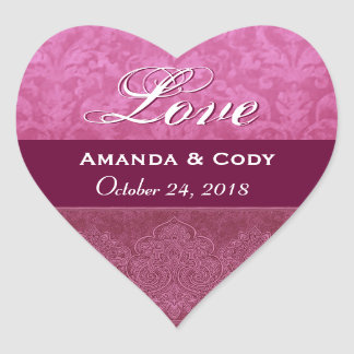 Pink and Maroon Love Bride and Groom Date V04 Heart Sticker