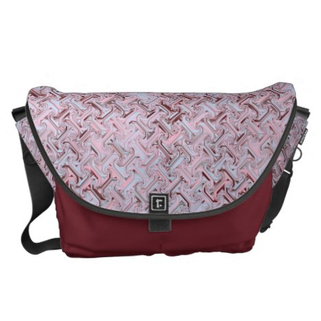 Pink and Maroon Tessellation Techno Pattern Messenger Bag
