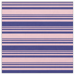 [ Thumbnail: Pink and Midnight Blue Lined Pattern Fabric ]