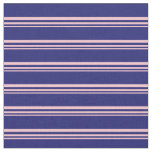 [ Thumbnail: Pink and Midnight Blue Lined/Striped Pattern Fabric ]