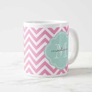 Pink and Mint Chevron Custom Monogram 20 Oz Large Ceramic Coffee Mug