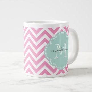 Pink and Mint Chevron Custom Monogram Extra Large Mugs