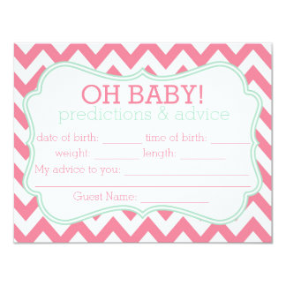 Pink and Mint Chevron Predictions & Advice Card Custom Invitations