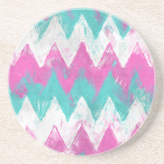 Pink and Mint Chevron Sandstone Coaster