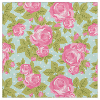 Pink and Mint Girly Vintage Roses Floral Print Fabric