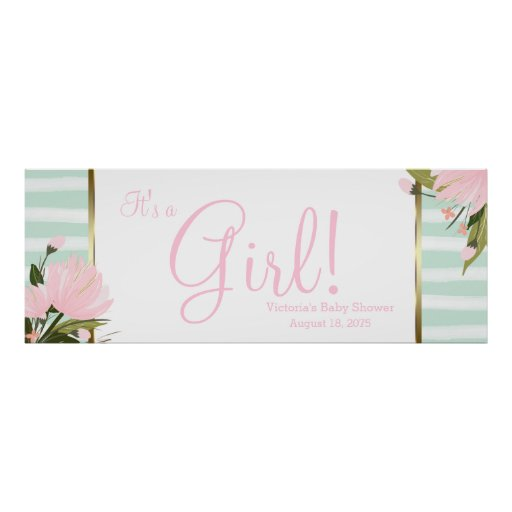 pink and mint green baby shower banner poster zazzle