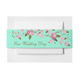 Pink and Mint Green Cherry Blossom Invitation Belly Band