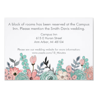 pink and mint green flowers wedding enclosure card