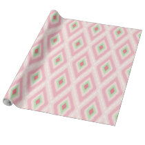 pink and mint green Ikat tribal pattern Wrapping Paper