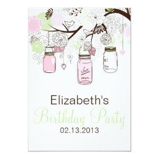Pink and Mint Green Mason Jars Birthday Invitation