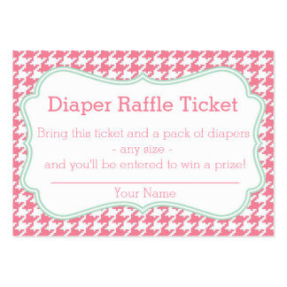 Pink and Mint Houndstooth Diaper Raffle Ticket Business Card Templates