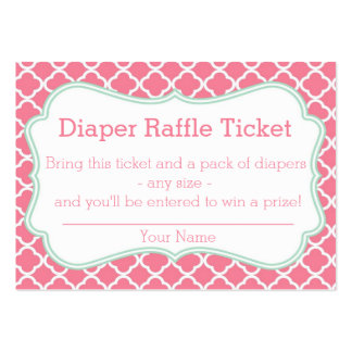 Pink and Mint Moroccan Diaper Raffle Ticket Business Card Template
