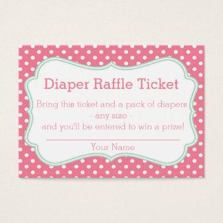 Pink and Mint Polka Dots Diaper Raffle Ticket