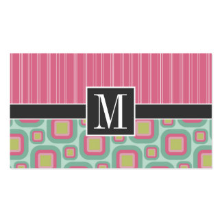 Pink and Mint Retro Business Card