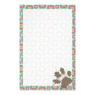 Pink and Mint Retro; Funny Pawprint Stationery