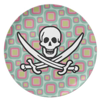 Pink and Mint Retro Jolly Roger Party Plates