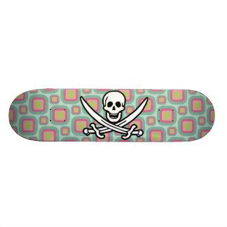 Pink and Mint Retro Jolly Roger Skateboards