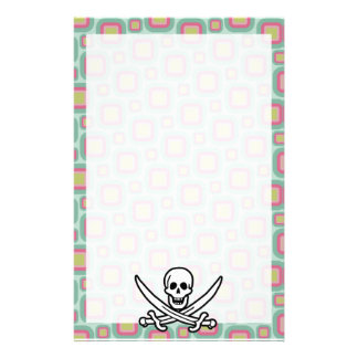 Pink and Mint Retro Jolly Roger Custom Stationery