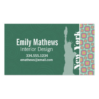 Pink and Mint Retro, New York; Statue of Liberty Business Card Template
