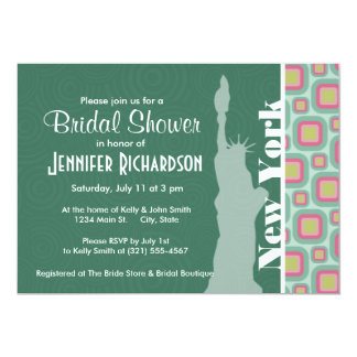 Pink and Mint Retro, New York; Statue of Liberty Personalized Announcement
