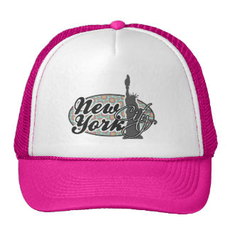 Pink and Mint Retro, New York; Statue of Liberty Trucker Hat