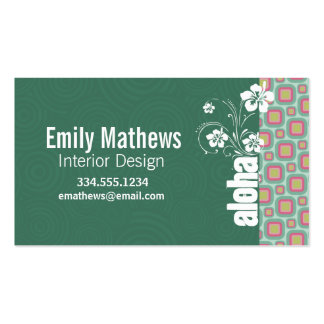 Pink and Mint Retro Pattern; Aloha Double-Sided Standard Business Cards (Pack Of 100)