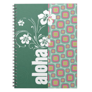 Pink and Mint Retro Pattern; Aloha Note Book