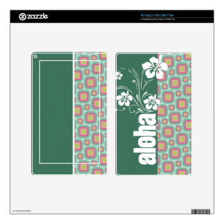 Pink and Mint Retro Pattern Aloha Decals For Kindle Fire