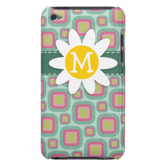 Pink and Mint Retro Pattern Daisy iPod Case-Mate Cases