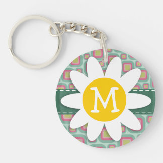 Pink and Mint Retro Pattern; Daisy Keychain