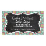 Pink and Mint Retro Pattern; Vintage Chalkboard Business Cards