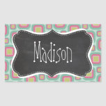 Pink and Mint Retro Pattern; Vintage Chalkboard Rectangle Stickers