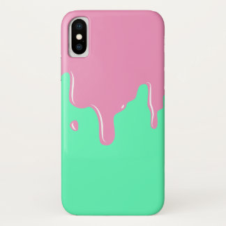 Pink and Mint Slime Dripping iPhone X Case