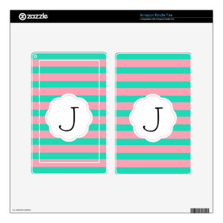 Pink and Mint Stripes Decal For Kindle Fire