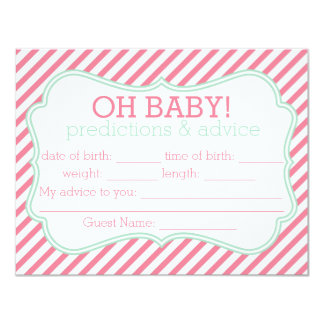 Pink and Mint Stripes Predictions & Advice Card Custom Announcement
