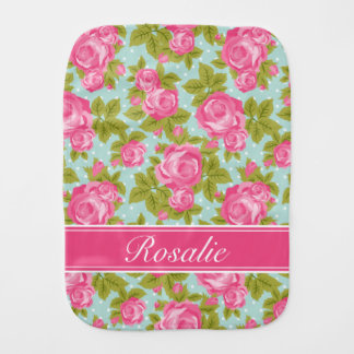 Pink and Mint Vintage Roses Monogram Burp Cloth