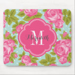 """Pink and Mint Vintage Roses Monogram Mouse Pad<br><div class=""""desc"""">Custom designed mousepad with a girly vintage rose floral print and polka dots. Personalize it with your monogram name and initial in a chic quatrefoil frame. Click Customize It to change the monogram text fonts and colors to create your own one of a kind design. Adorable and unique gifts!</div>"""