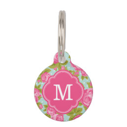 Pink and Mint Vintage Roses Monogram Pet Tag