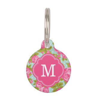 Pink and Mint Vintage Roses Monogram Pet Tag