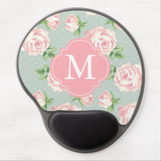 Pink and Mint Vintage Roses Pattern Monogrammed Gel Mouse Pad